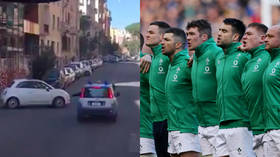 'This is suicide!' Irish rugby team coach receives madcap escort through streets of Rome (VIDEO)