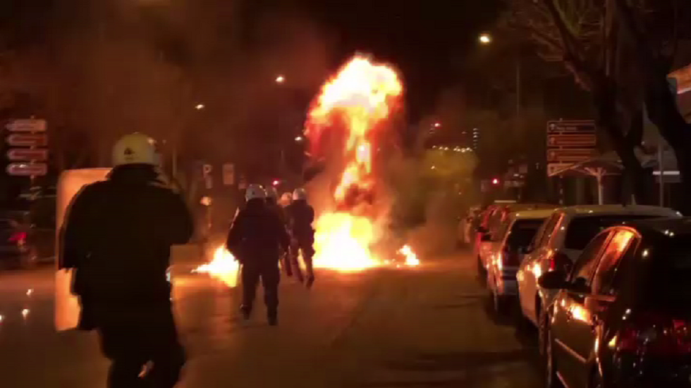 Greek police pelted with PETROL BOMBS as masked attackers take to Turkish consulate