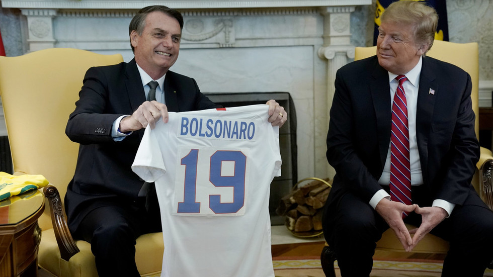 'Get me a printer, paper & glue!' Trump mocked over 'homemade' jersey gift for Bolsonaro