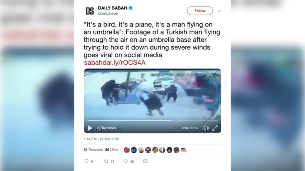 Stormtrooper: Man flies into Turkish tempest riding… an umbrella?