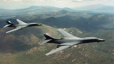 FILE PHOTO: B-1B Lancer bombers capable of carrying nuclear weapons