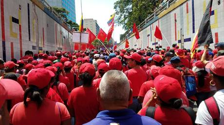 A massive pro-government rally on March 16, Caracas.