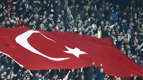 Fans wave a Turkish national flag ©  REUTERS / Osman Orsal