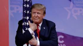 'Can the flag sue for harassment?' Twitter goes bananas after Trump hugs American flag