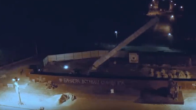 Ukrainian city topples Soviet WWII monument 'in critical condition'… after 3rd attempt (VIDEO)