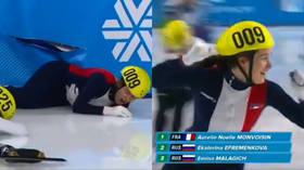 Drama as French speed skater recovers from crash to win gold at Universiade in Russia (VIDEO)