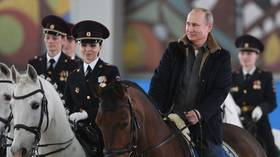 Putin Rides Horse This Time Fully Clothed Alongside Mounted Female Police Officers Video Rt Russia Former Soviet Union