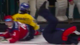 Wipeout! Cameraman sent flying in Universiade 2019 bandy semi-final in Russia (VIDEO)