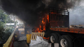 Venezuela aid truck torched by protesters, MSM finally admit… but of course Maduro's still to blame