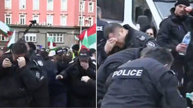 WATCH Bulgarian policemen use pepper spray against protesters…but wind blows it back in their faces