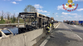 Senegalese man sets Italian school bus on fire with 51 children on board (PHOTOS, VIDEO)