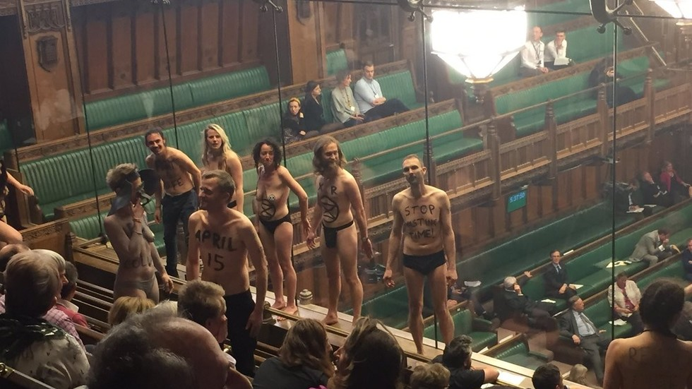 Semi-Naked Activists Strip Off In Uk Parliament As Mps Try To Debate Brexit Photos, Video  Rt -7585