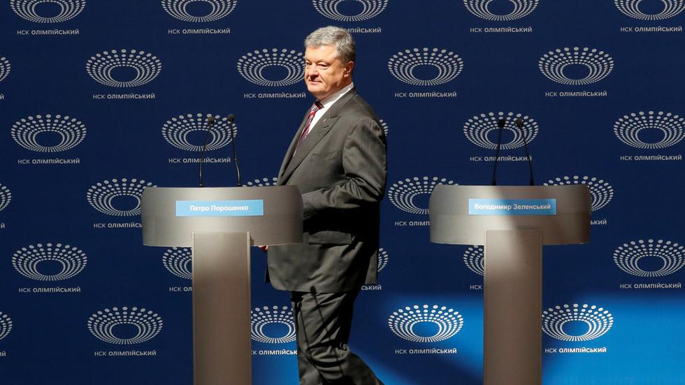 Ukraine election: Cornered Poroshenko 'debates himself' as frontrunner Zelensky skips event