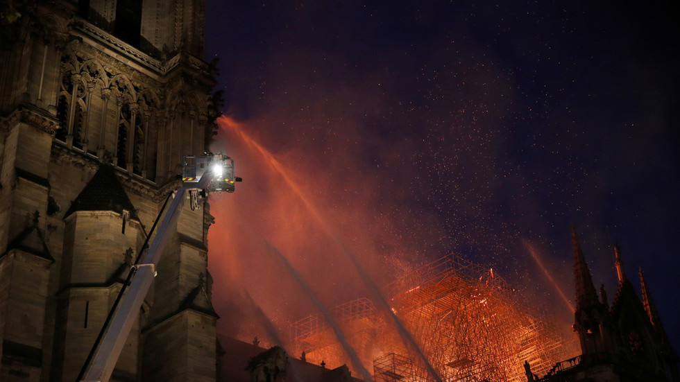 Notre Dame towers 'saved' from the blaze, French firefighters believe