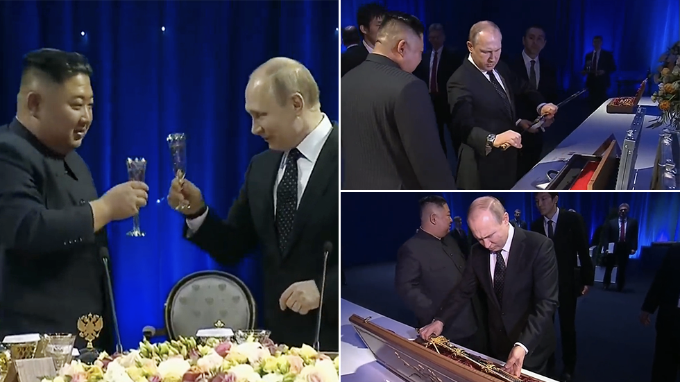 Clinking glasses & swapping swords: Watch highlights from Kim's summit with Putin (VIDEOS)