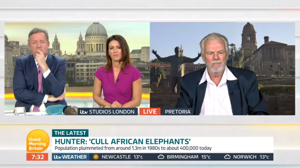 Hunter who killed 5,000 elephants blasted by Piers Morgan in tense live interview