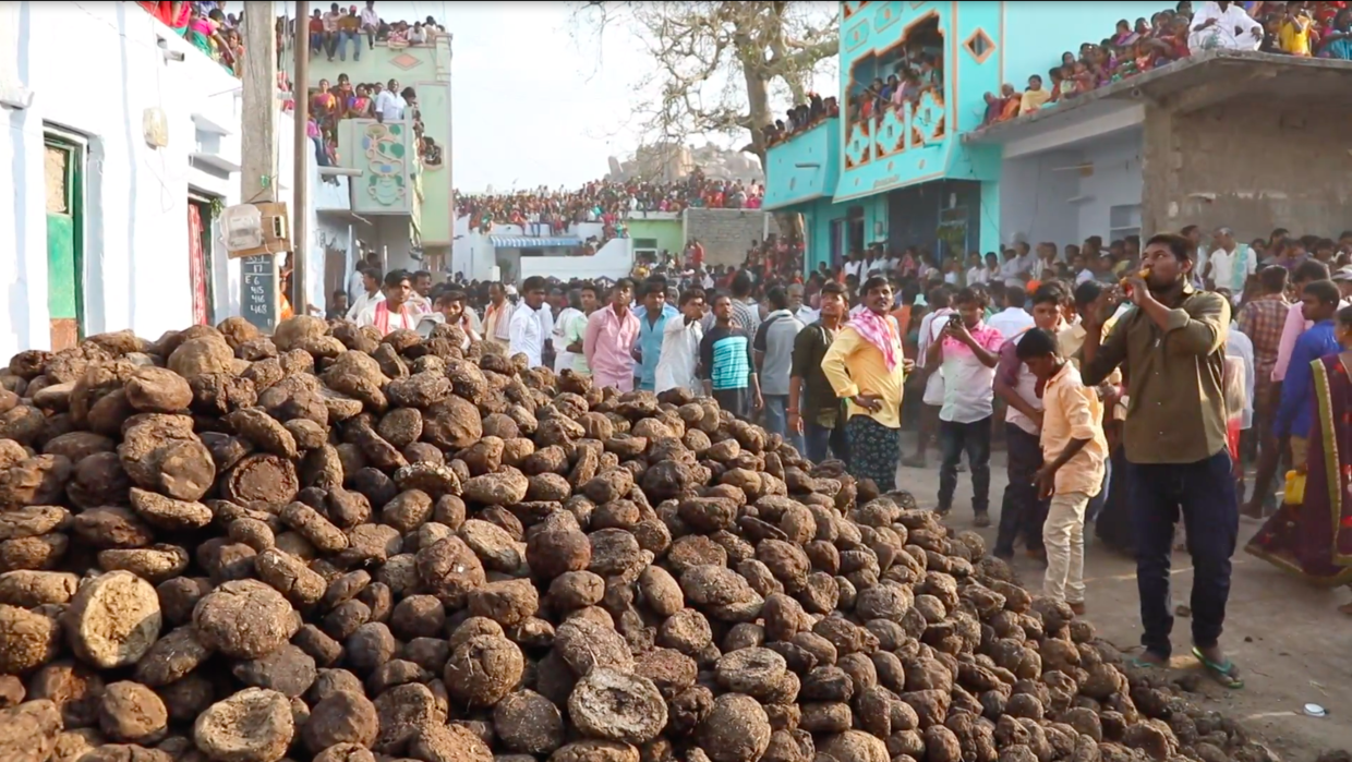 Cow Dung Hurled By Rival Indian Villages To Mark War Of Married Gods Video -9776