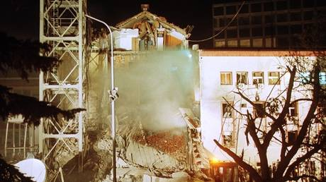 Radio-Television Serbia (RTS) building, bombed by NATO in early morning hours of on April 23, 1999