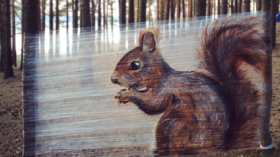 Graffiti in the woods: Artist uses plastic wrap for impressive animal works (PHOTOS)