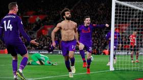 'Perfectly timed!' Shirtless Salah gives teammates the slip in hilarious goal celebration (VIDEO)