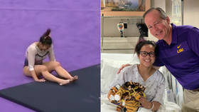 US gymnast undergoes surgery on broken legs after horrific injury