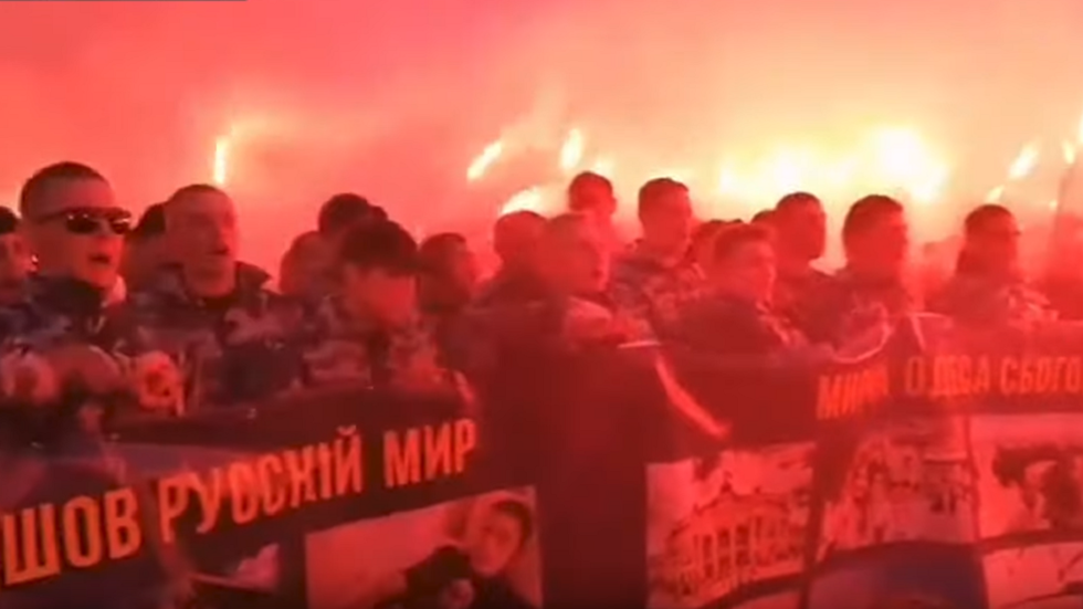 Nationalists stage torchlight march on day that Odessa residents mourn victims of 2014 clashes