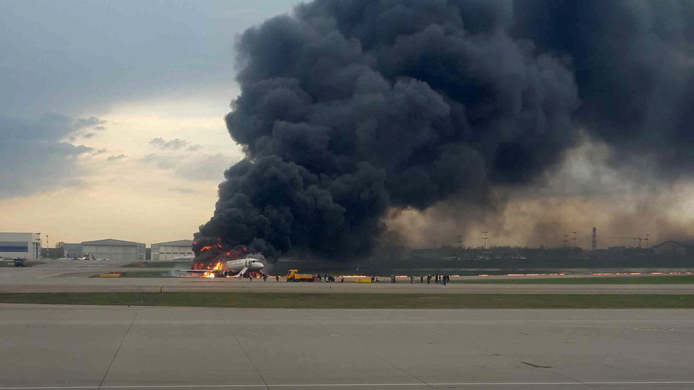At least 1 killed, 4 injured as Superjet-100 crash-lands, catches fire at major Moscow airport