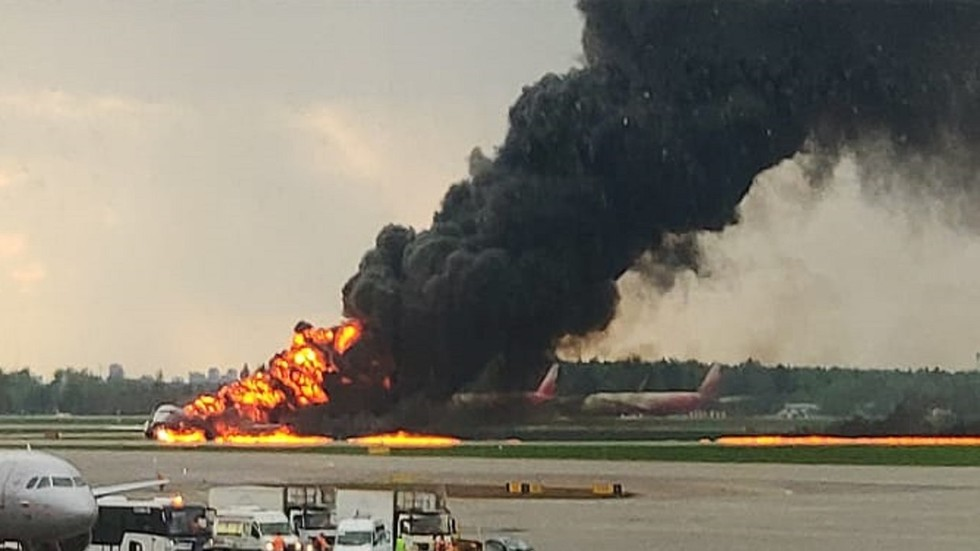 VIDEO shot inside burning Sukhoi Superjet as it lands at Moscow airport