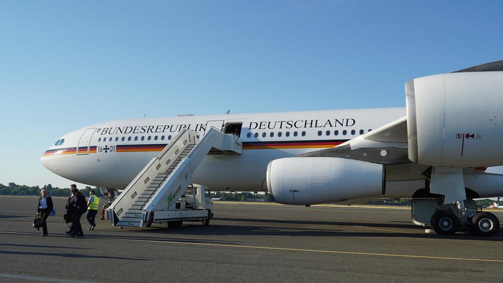 Merkel forced to swap planes again as van rams her jet