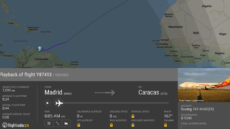 Chinese 'humanitarian aid' cargo plane spotted landing in Venezuela – reports