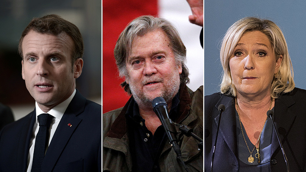 Macron suspects 'lobbyists close to US government' are supporting Le Pen as Bannon visits Paris