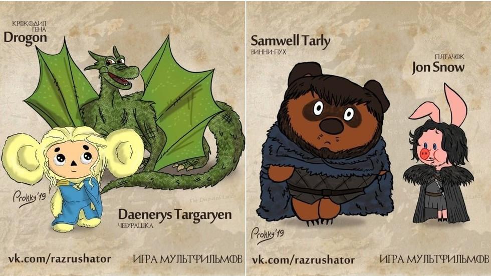 Cheburashka Daenerys & Piglet Jon Snow: Game of Thrones characters reimagined as Russian CARTOONS