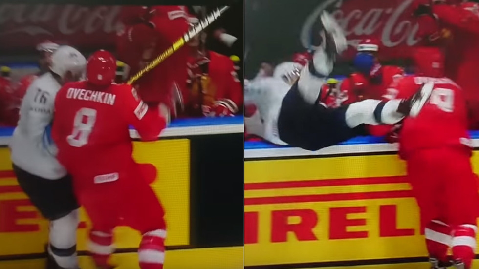 e02066922 WATCH: Huge Ovechkin body check sends US rival sprawling into Russian team  bench — RT Sport News