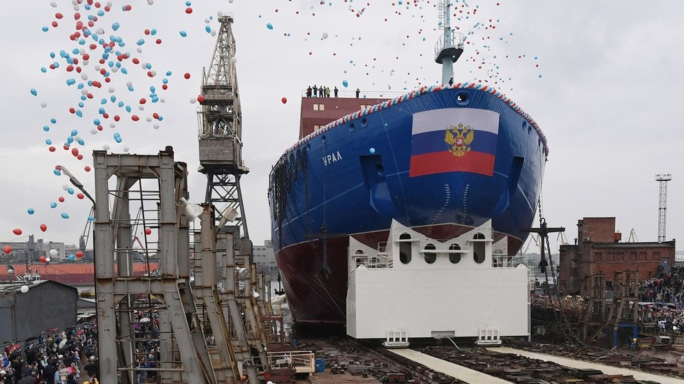 Russia floats third in class of nuclear icebreaker set to guide ships through Arctic