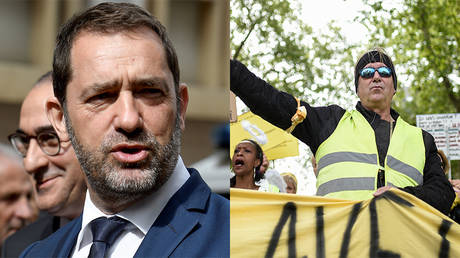FILE PHOTOS: Interior Minister Christophe Castaner and Yellow Vests protesters © AFP / Gerrard Julien and Sebastien Salom-Gomis