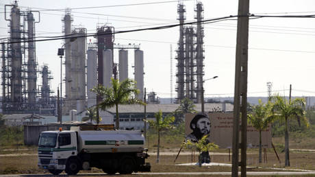 Fuel tanker is driven at Cienfuegos Oil Refinery southeast of Havana.