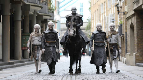 The Night King and White Walkers march through London to promote the forthcoming Game Of Thrones Season 7 on July 11, 2017 in London, England.