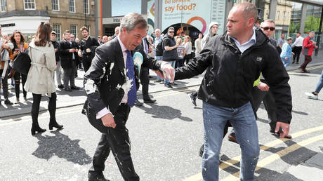 'How did you not stop that?' Farage furious after being hit with MILKSHAKE (VIDEO)