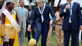 Theresa May receives 'red card' after trying to showcase her football skills on Twitter