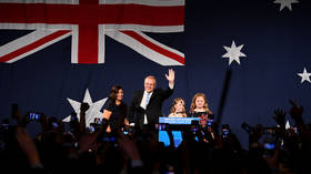 Australia's Prime Minister Scott Morrison jestures after winning the 2019 Federal Election in Sydney, Australia, on May 18, 2019.