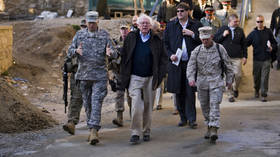 US Senator Bernie Sanders (I-VT) tours the Afghan National Police Academy in Kabul, Afghanistan, on February 20, 2011