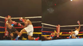 'Double KO!' Boxers simultaneously exchange punches, hit canvas at the same time (VIDEO)