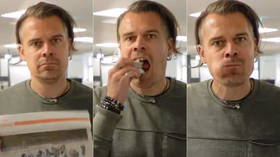 True to his word: Finnish sports reporter literally eats his own words (VIDEO)