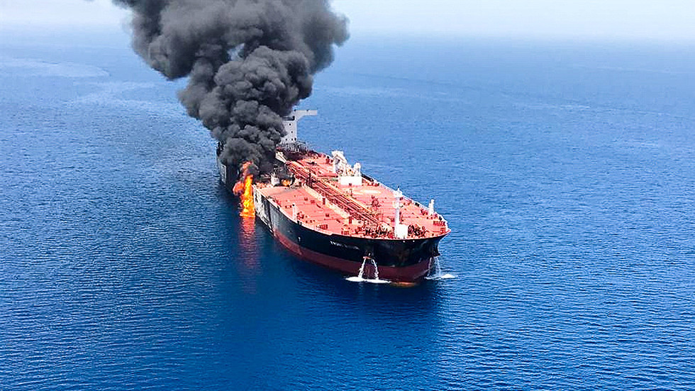 PHOTOS show massive fire on 'attacked' oil tanker in Gulf of Oman