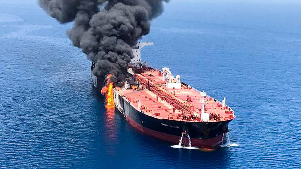 BURNING tanker filmed by Iran after attacks in Gulf of Oman