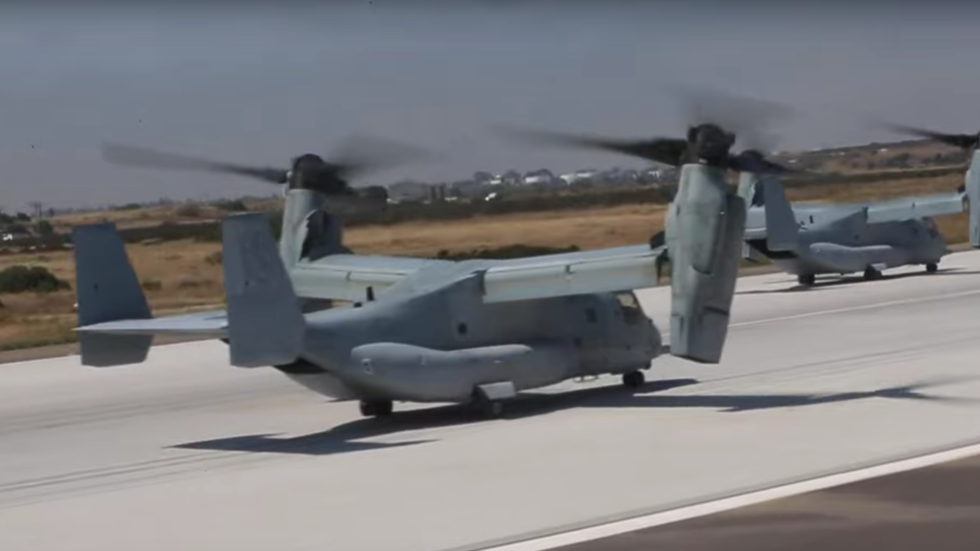 'Intimidation attempt... against defenseless states': US Marines put on a show of air power