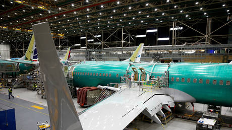 FILE PHOTO: A 737 Max aircraft is pictured at the Boeing factory in Renton, Washington, US, on March 27, 2019.