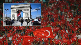 Ecstatic Turkish fans march on Arc de Triomphe following shock win vs France (VIDEOS)