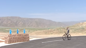 Turkmenistan's president practices drive-by shooting tactics on his bike, because.. why not? (VIDEO)