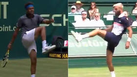 WATCH: Tennis players stage impromptu football duel in the middle of match